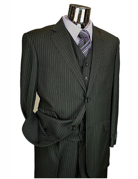 Athletic Cut Classic Suits Mens suit  Classic Relax Fit Pleated Pants 19 Inch Bottom Black