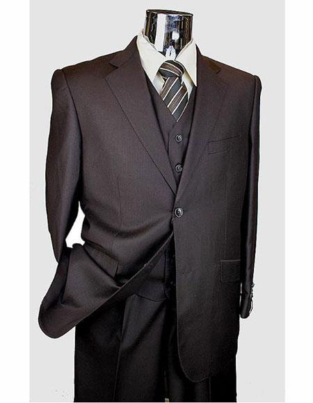 Athletic Cut Classic Suits Men's suit  Classic Relax Fit Pleated Pants 19 Inch Bottom Brown