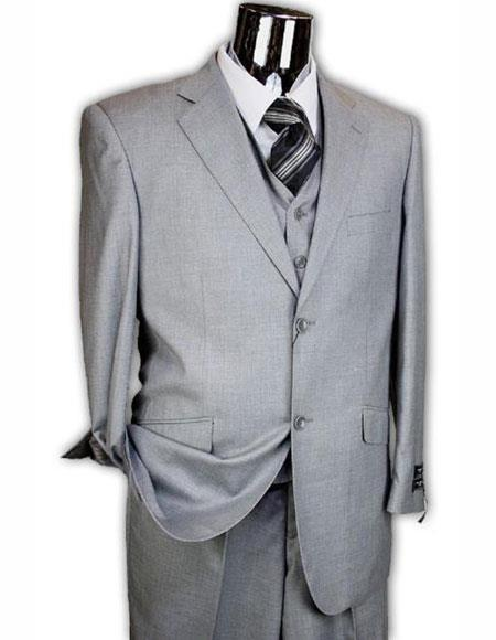 Athletic Cut Classic Suits Mens suit  Classic Relax Fit Pleated Pants 19 Inch Bottom Grey