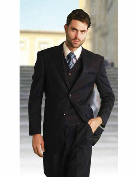 Mens Solid Navy Athletic Cut Classic Suits