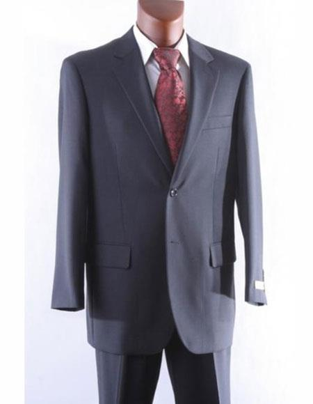 Athletic Cut Classic Suits Mens suit  Classic Relax Fit Pleated Pants 19 Inch Bottom Charcoal