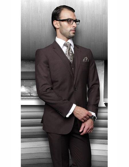 Men's Solid Brown Athletic Cut Classic Suits