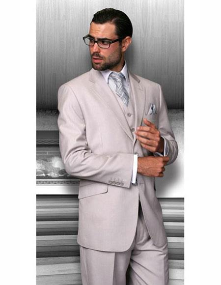 Mens Solid Sand Athletic Cut Classic Suits
