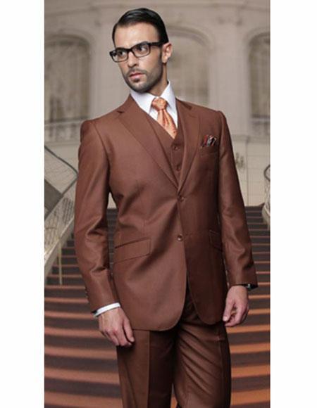 Copper Athletic Cut Classic Suits for Men