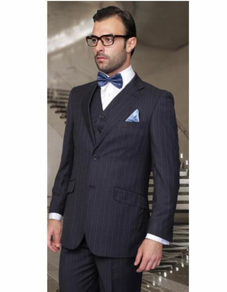 Athletic Cut Classic Suits Men's suit  Classic Relax Fit Pleated Pants 19 Inch Bottom Dark Navy