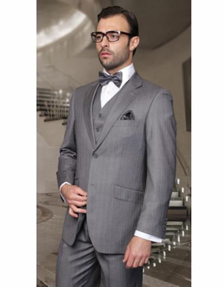 Classic Fit Suit Men's Gray Athletic Cut Classic Suits