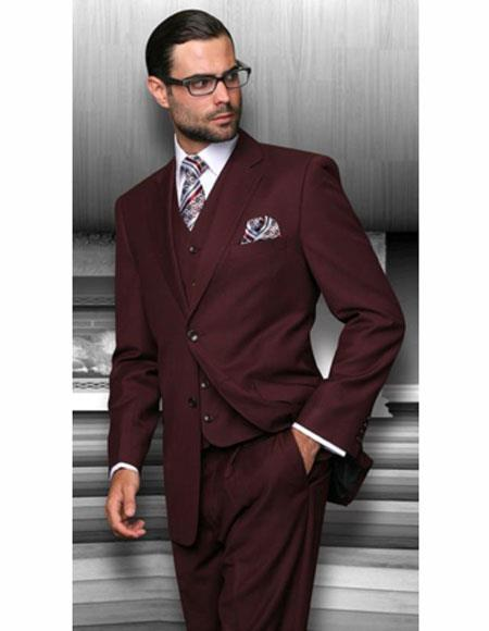 Classic Fit Suit Men's Burgundy Athletic Cut Classic Burgundy Suit