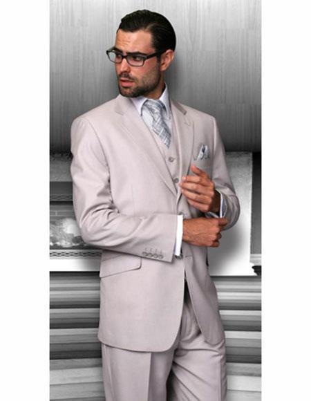 Sand Athletic Cut Classic Suits Mens suit