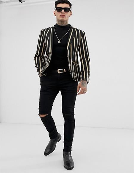 Mens Black Stripe Design One Button Cheap Priced Blazer