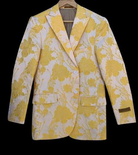 White and Gold ~ Yellow Tuxedo Jacket Fashion Blazer Free Matching bowtie Perfect for Prom and Wedding