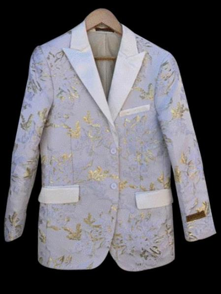 White and Gold ~ Yellow Tuxedo Jacket Fashion Blazer Perfect for Prom and Wedding