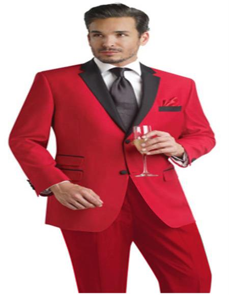 Men's Red Color Two Button Suit