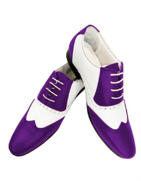 Dark Purple Lace Up Wing Tip Shoe