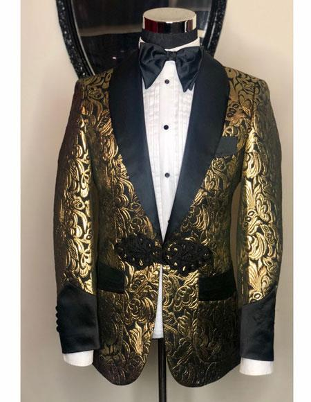 Mens Gold  Shawl Black Lapel Designer Casual Cheap Priced Fashion Blazer Dress Jacket