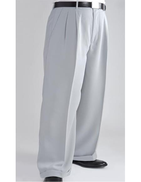 Mens Stylish Flat Front Pant Silver Formal Dressy Pant Mens Wide Leg Trousers - Cheap Priced Dress Slacks For Men On Sale