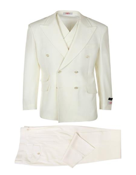 Mens Double Breasted Peak Lapel Suit Solid Off White