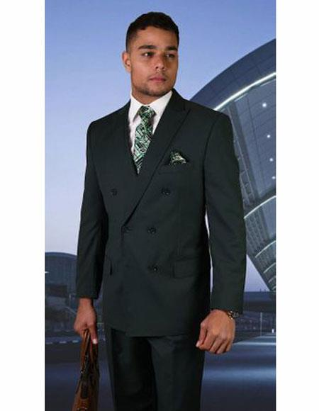 Mens Hunter Green Double Breasted Suit Peak lapel