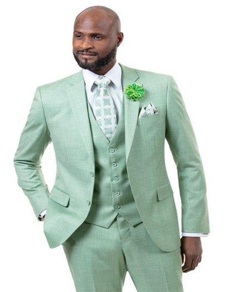 Men's Solid Light Green - Sage - Pieces Vested Suit