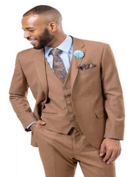 Men's Solid Light Brown -  Mocha - Carmel Verk Dark Tan 3 Pieces Vested Suit
