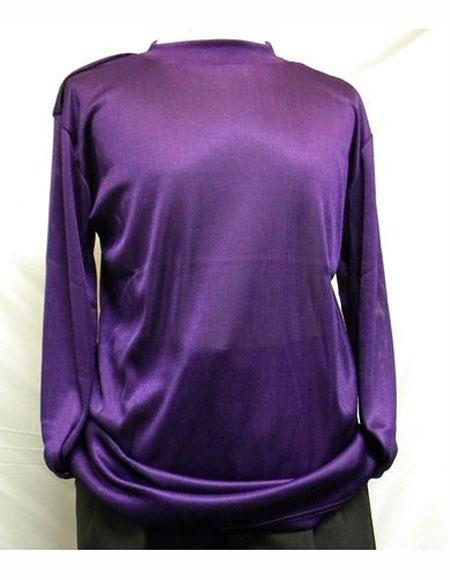 Mock Neck Shirts For Men Purple