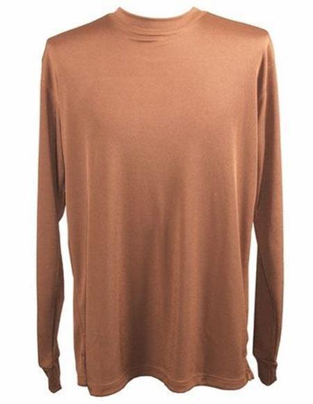 Mock Neck Shirts For Men Brown