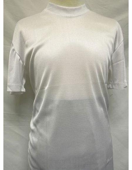 White Short Sleeve Fabric Mock Neck Shirts For Mens