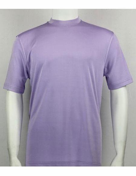 Lilac Mock Neck Short Sleeve Shirts For Mens