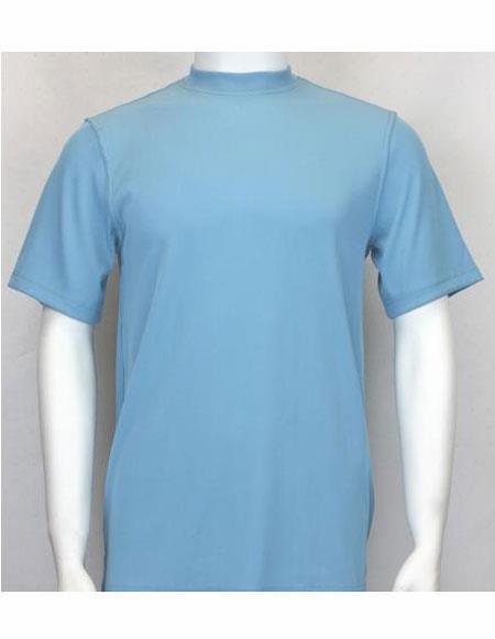 Mock Neck Shirts For Men Turquoise