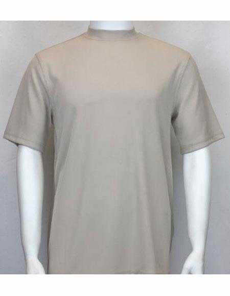 Tan Classy Look Fabric Meterial Mock Neck Shirts For Mens