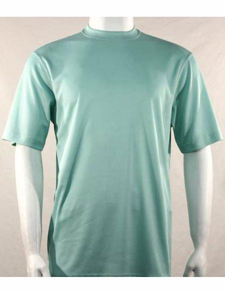 Mock Neck Shirts For Men Sea Green