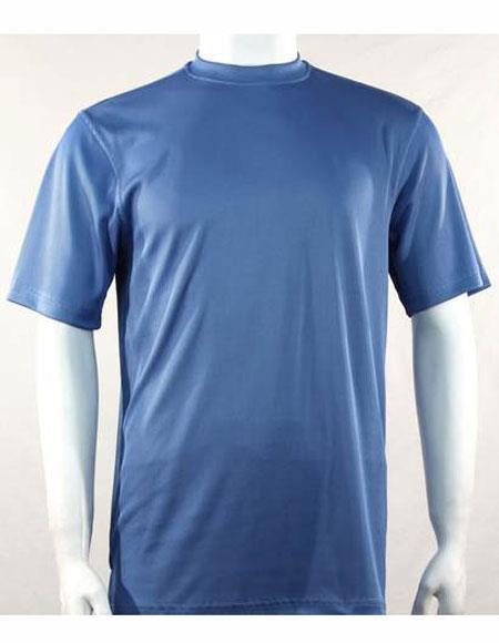 Mens Blue Mock Neck Short Sleeve Shirts