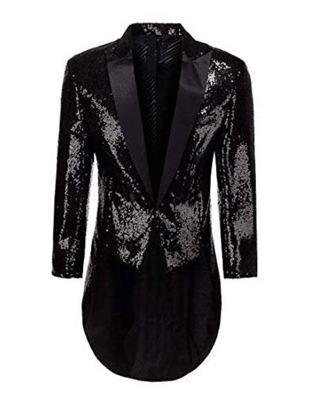 Mens Tailcoat Mens Black Peak Lapel Button Closure Dress Casual Blazer