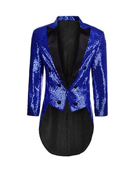 Mens Tailcoat Mens Blue Peak Lapel Shiny Pattern Cheap Priced Blazer