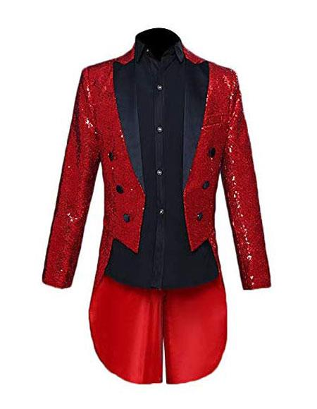 Mens Tailcoat Mens Red Shiny Pattern Button Closure Cheap Priced Blazer