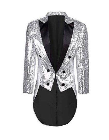 Mens Tailcoat Mens White Button Closure Dress Casual Blazer On Sale