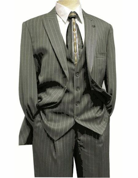 Men's Peak Lapel Gray ~ White Suit