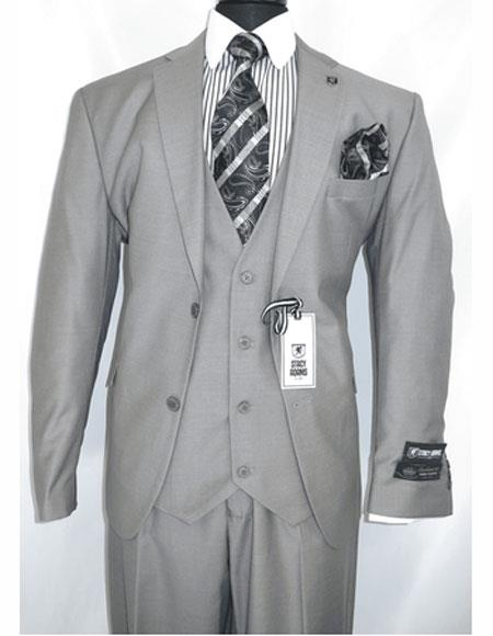 Stacy Adams Mens Single Breasted Gray Notch Lapel Two Button