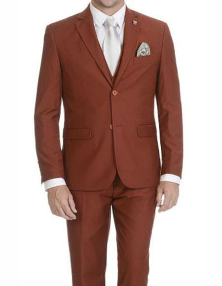 Stacy Adams Mens Rust Single Breasted Two Button Suit