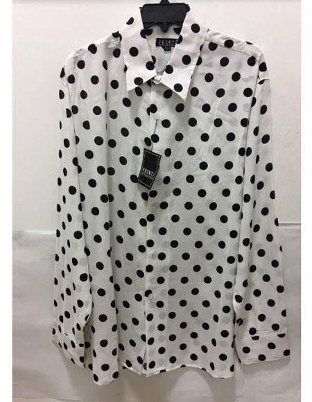 Mens Pronti Fashion Poker/ Polka Dot Long Sleeves Shirts