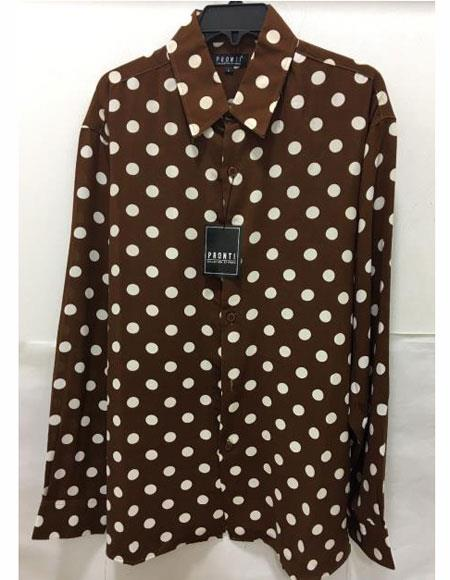 Men's Pronti Fashion Poker/ Polka Dot Long Sleeves Shirts Burgundy