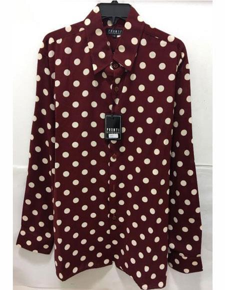 Men's Brown Polka Dot Pattern Long Sleeve Shirt