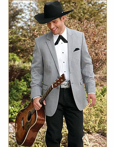 Mens Button Closure Notch Lapel Gray Wedding Cowboy Suit