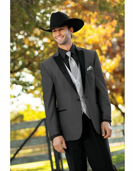 Mens Wedding Cowboy Suit Jacket perfect for wedding Charcoal