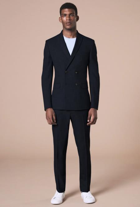 Mens Black Peak Lapel Four Button Wool Suit