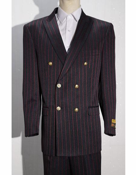 Black ~ Red Button Closure Striped ~ Pinstripe Suits