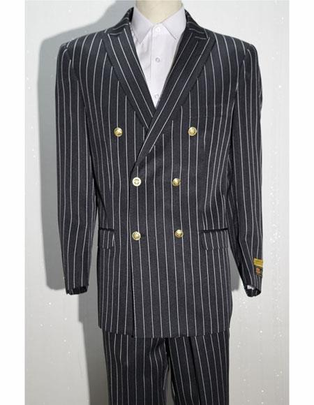 Bold Gangster 1920s Clothing 20s 40s Fashion  Striped ~ Pinstripe Double Breasted Suits Black ~ White By Alberto Nardoni Brand
