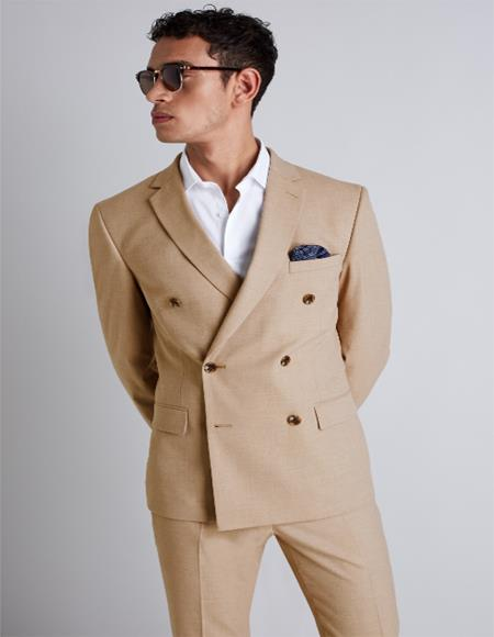 Camel ~ Bronze Color Double Breasted Wool Suit