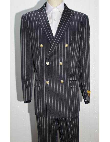 Mens Double Breasted Blazer Sport With Brass Gold Buttons Coat