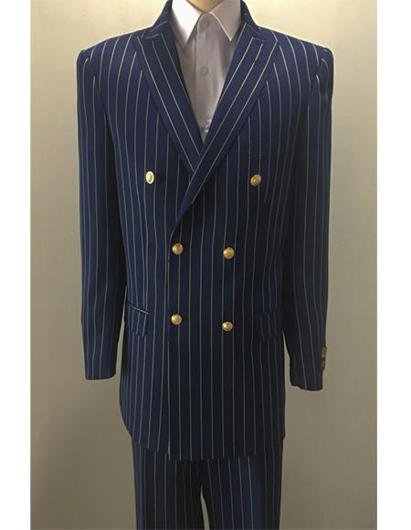 Men's Double Breasted Suits Jacket Blazer Sport Coat With Brass Gold Buttons Coat