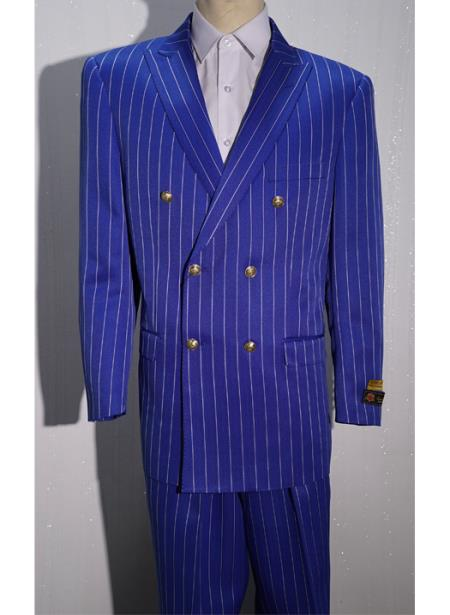 Men's Royal/White Pinstripe Six Button Men's Double Breasted Suits Jacket Blazer Sport Coat